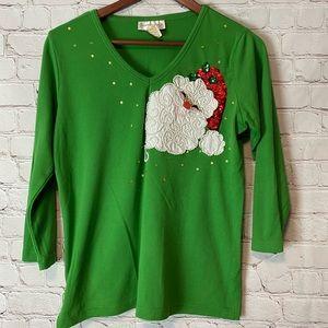 EUC Vintage Sequin Santa 3/4 Sleeve Top